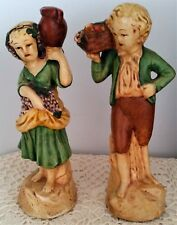 Pair Of Vintage New Art Wares Chalkware Figurines Figures Boy & Girl 1940's 50's