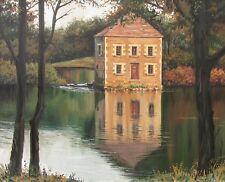 5x7 PRINT OF OIL PAINTING ART RYTA IMPRESSIONISM LANDSCAPE HOUSE LAKE HAUNTED
