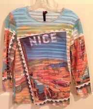 Knit Top Graphic Sheer S 100% Polyester Multi Lined NICE 3/4 Sleeve Top Graphic