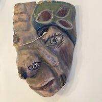 Antique Mexican Folk Art Carved Wood Mask