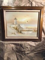Original J Thompson signed Oil on Canvas pntg. FL Oceanfront w lighthouse,birds