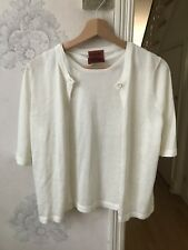 Missoni Lurex Stretchy Top And Blouse Cardigan Short Sleeve ivory Shimmer 12/14