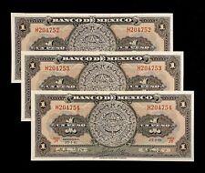 1961 Unc Banco Mexico Banknotes 1 Pesos Consecutive World Paper Money Bank Lot