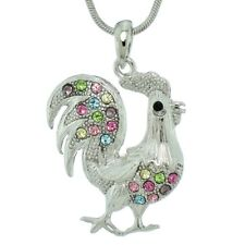 "Rooster Made With Swarovski Crystal Multi Color Chicken Necklace Coq 18"" Chain"