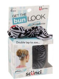 Scunci Get the Bun Look Maker 6 Piece Kit Black White Stripes  Hair Accessories