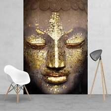 Moderno Oro resplandecientes Buda Cara función pintado pared mural 158cm X 232cm