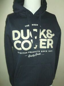 DUCK AND COVER NAVARRE LOGO HOODIE BLUE SIZE L NEW NWT