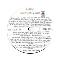"THE DICKIES * MANNY, MOE & JACK * ORIGINAL  7"" SINGLE A&M AMS 7491 PLAYS GREAT"