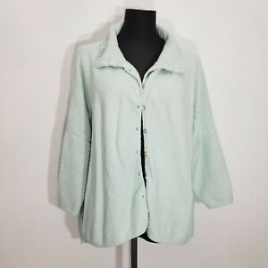 Margaret Winters Womens Cardigan Sweater Size M Button Up Knit Ribbed Texture