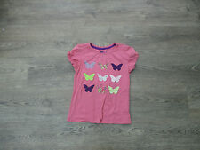 **AGE 9 GIRLS PINK TOP, MULTI COLOURED BUTTERFLY DETAIL TO THE FRONT (9)**