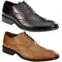 Mens Leather Shoes Formal Office Vintage Classic Brogue Smart Wedding Shoe Size