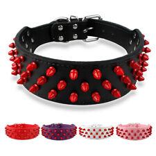 Spiked Studded Dog Collar 2'' Wide Adjustable Medium Large Dog Rottweiler Black