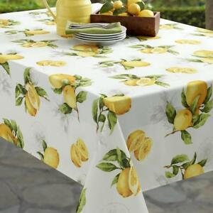 BENSON MILLS LIMONCELLO SPILLPROOF TABLECLOTH - YELLOW/GREEN/WHITE - 60x84 - NEW