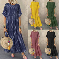 ZANZEA 8-24 Women Summer Polka Dot Sundress Full Length Flare Long Maxi Dress