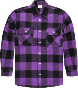 Plaid Flannel Shirt Brawny Buffalo Heavyweight Long Sleeve Checkered Lumberjack