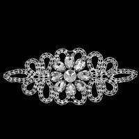 Diamante Applique Sew On Motif Rhinestone Crystal Patch Bridal Dress Decoration