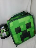 Minecraft Lunch Box Bag Tote Kit Boys Creeper Green Thermos with funtainor
