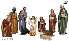"Christmas Nativity Set Scene Figures Polyresin 12"" Inch Baby Jesus-11 PIECE SET"