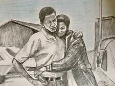 Barack And Michelle Obama, In Chicago, Southside, 1990s, drawing painting