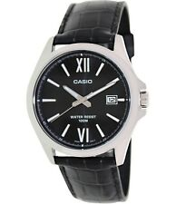 Casio MTP1376L-1A Mens Black Leather Dress Watch 100M Roman Numerals Black Dial