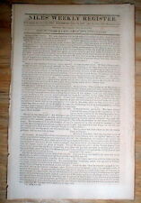 1821 newspaper w NUMISMATICS US Mint reports 1819 Gold Silver & Copper coinage