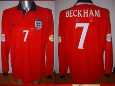 Inghilterra Beckham XL L / S Maglia Jersey Football Calcio Umbro Uomo Utd Coppa del mondo