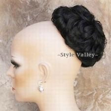 Perfect Black BUN Hairpiece Extension Curly Wedding Chignon Updo hair piece #1B