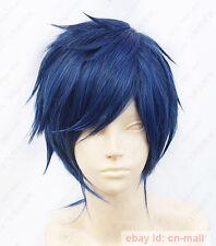 Free! Rei Ryugazaki Short Blue Black mix Cosplay Wig  + free wig cap