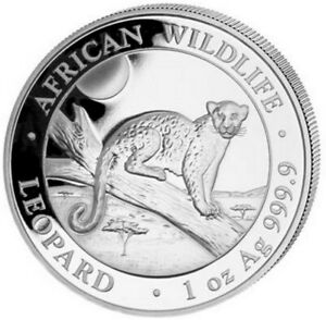 2021 1 Oz Silver 100 Shillings African Wildlife LEOPARD Coin.