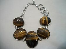 Tigers Eye Bracelet in Stainless Steel - 8.5 inches, 31.00 Carats