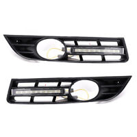 2Pcs LED DRL Daytime Running Light Lam with Grill Grille for VW Passat B6 06-09