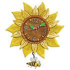 New MICHELLE ALLEN Designs WALL CLOCK Decor SUNFLOWER Swing Pendulum BEE SUNNY