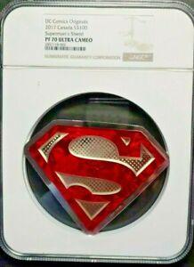 2017 Canada 10 Oz Silver Coin $100 DC Comics Superman's Shield NGC PF70UC