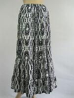 Crossroads Ladies Gypsy Rose Tiered Maxi Skirt sizes 8 10 12 14 18 Black White