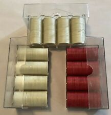 Lot of 300 Vintage Poker Chips White Mr Lucky Red Unicorn Chips With Cases