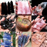 Natural Quartz Crystal Carved Palm Healing Gemstone Xmas Pink white black purple