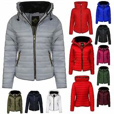New Women Ladies Puffer Padded Quilted Plain Zipped Jacket Coat Size 6-14