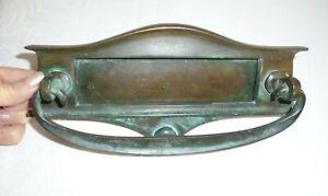 Vintage/Antique Stylish Arts & Crafts Solid Bronze Letter Box / Door Knocker