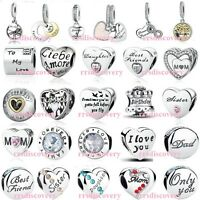 925 STERLING SILVER Signature Charms For European Bead Bracelet RRS