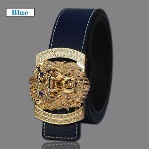 Waist Belts Split Leather Shiny Diamond Lion Head Buckle Animal Pattern Fashion