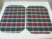 """2  Reversible Fabric Check Placemats Green Burgundy Color 19"""" x 13"""" New"""