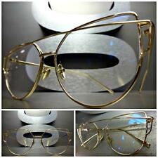 EXAGGERATED VINTAGE RETRO CAT EYE Style Clear Lens EYE GLASSES Unique Gold Frame