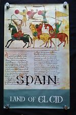 """Original Vtg Spain 1970s Poster 24"""" x 39"""" Land of El Cid Printed in Spain"""