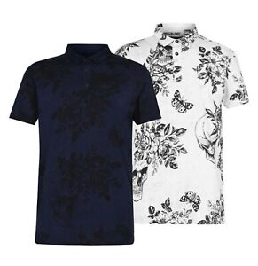 Mens Firetrap Summer Print Short Sleeves Regular Polo Top Sizes from S to XXXL
