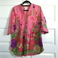 SOFT SURROUNDINGS Womens Pink Cotton Floral Print Button Down Tunic Shirt Top M