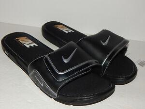 Nike Comfort Slide 2 Slides / Sandal 415205-002 Size 15 Black / Metallic Silver