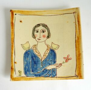 Studio pottery square shaped dish / wall hanging - Lady with birds & flowers