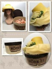 Wormser Hatters Vintage Box With Yellow Taffeta Floral Women's Hat 396053