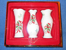 "Lenox Porcelain 5"" Tall Christmas Bud Vases Candycane Holly Set Of 3 New In Box"