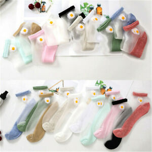 Breathable Elastic Lace Short Socks Ankle Socks Daisy Embroidery Transparent